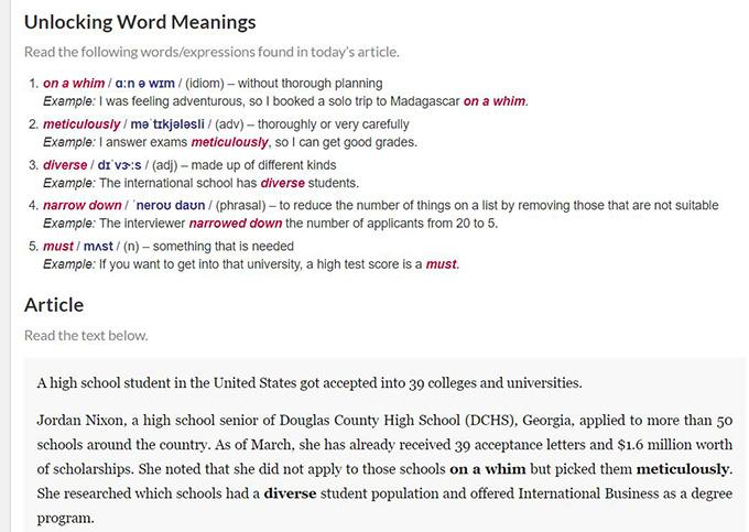 新しい単語の確認(Unlocking Word Meanings)